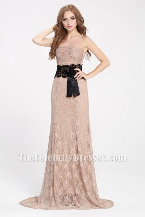 Celebrity Inspired Lace Strapless Prom Gown Evening Formal Dresses TCDBF092