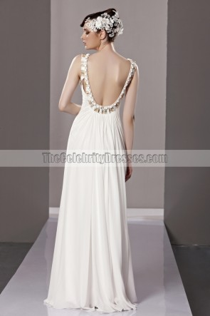 Celebrity Inspired White Backless Evening Formal Dress With Beading