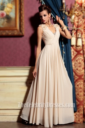 Champagne V-neck Floor Length Evening Dress Prom Gown