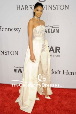 Chanel Iman Light Champagne Strapless Pants Suit 2016 amfAR New York Gal Red Carpet Dress TCD7826