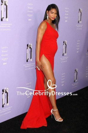 Chanel Iman Red One-shoulder Evening Formal Dress 2018 Fragrance Foundation Awards TCD7905