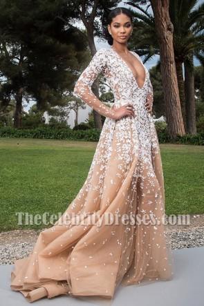 Chanel Iman tiefe V-Ausschnitt lange Ärmel formale Ballkleid Cannes 'amfAR Gala