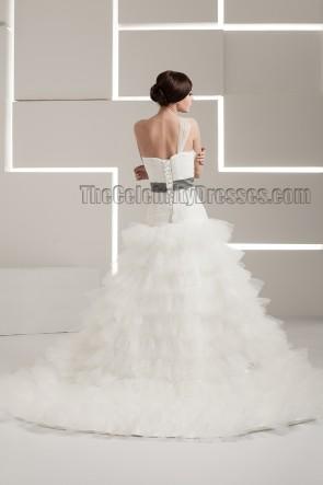 Chapel Train One Shoulder A-Line Organza Wedding Dresses