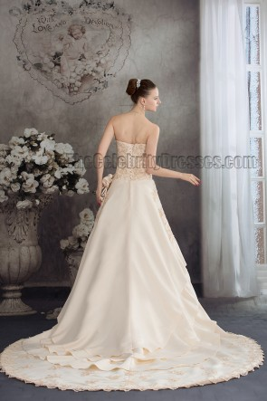 Chapel Train Strapless Embroidery A-Line Formal Evening Dresses