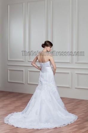Kapelle Zug Weiß A-Linie Trägerloses Gesticktes Brautkleid