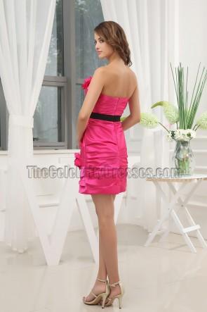 Günstige Fuchsia kurze Brautjungfer Kleid Abschlusskleid