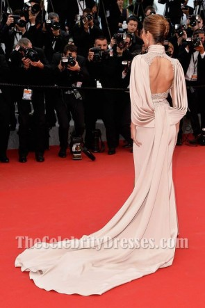 Cheryl Fernandez-Versini Luxus Oberschenkelhoher geschliffener Hofzug besticktes Abendkleid 2015 Cannes Film Festival
