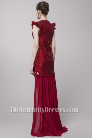 Sexy Red Sequined High Low Party Dress Prom Gown