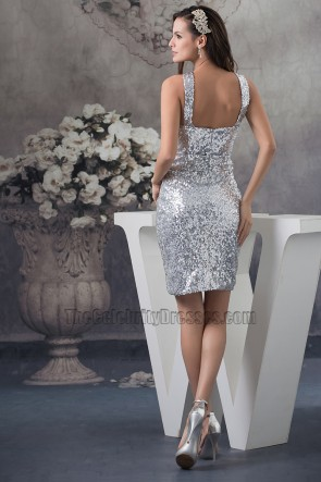 Chic Silver Sequins Short Cocktail Party Graduation Dresses