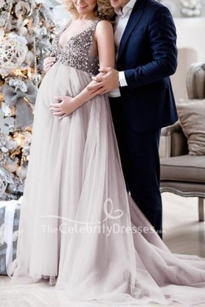 Chic V-neck Maternity Dress With Tonal Delicate Sequins for Baby Shower