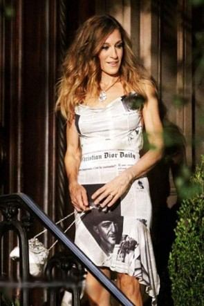 "Sarah Jessica Parker Newspaper Party Dress Cocktail Dresses ""Sex and the City 2"""