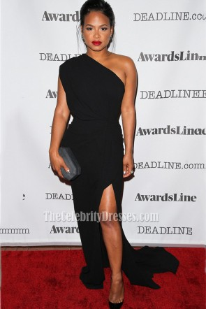 Christina Milian Black One-shoulder High Slit Red Carpet Evening Dress Deadline Emmy Party 2