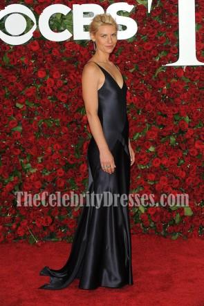 Claire Danes Navy V-Ausschnitt Abend Abendkleid 70. Jährliche Tony Awards