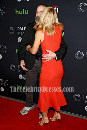 Claire Danes rotes tiefes V-Ausschnitt Partykleid PaleyFest Made 2016