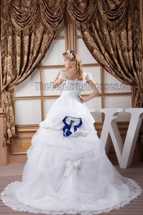 Classic A-Line Cap Sleeve Chapel Train Beaded Wedding Dress