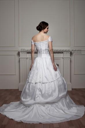 Classic A-Line Off-the-Shoulder Chapel Train Wedding Dresses