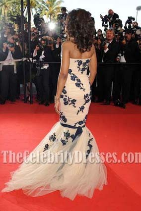 Kerry Washington gesticktes formales Kleid 2009 Cannes Film Festival Roter Teppich