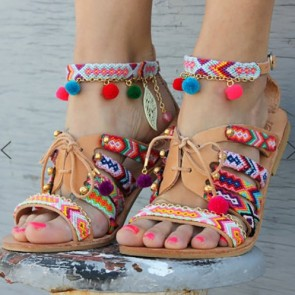 Colorful Open Toe Pom-pom Decor Sandals For Women
