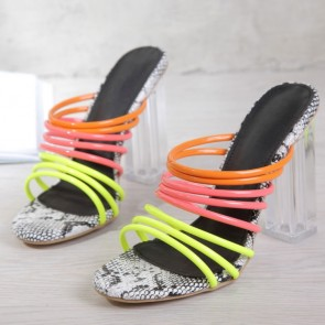 Colorful Patent Leather Strap Chunky Heels Sandals For Women