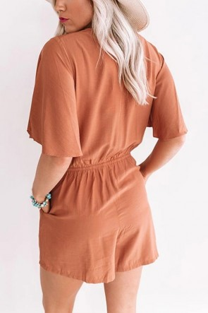 Cross V-neck Lace-up Casual Romper