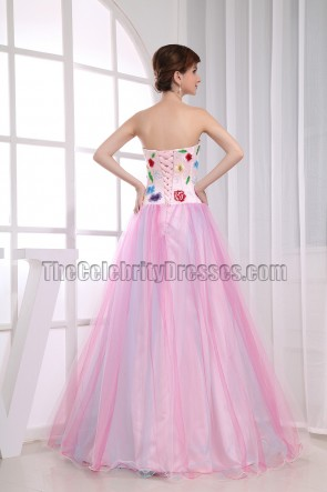 A-Line Embroidery Prom Dress Ball Gown Formal Dresses