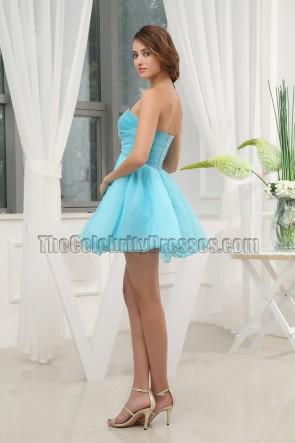 Nettes blaues trägerloses kurzes Mini-Partykleid Heimkehrkleid