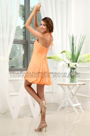 Orange Halter Chiffon Party Homecoming Dresses