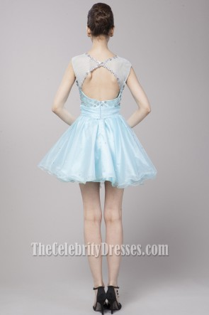 Cute Light Sky Blue Beaded Party Homecoming Dresses