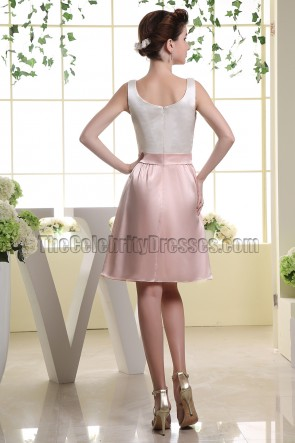 White And Pearl Pink A-Line Party Dress Homecoming Dresses