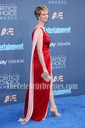 Cynthia Nixon Two Tone Deep V-Ausschnitt Abend Abendkleid  2016 Critics 'Choice Awards