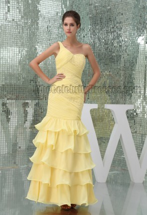 Daffodil One Shoulder Floor Length Beaded Prom Gown Formal Dress