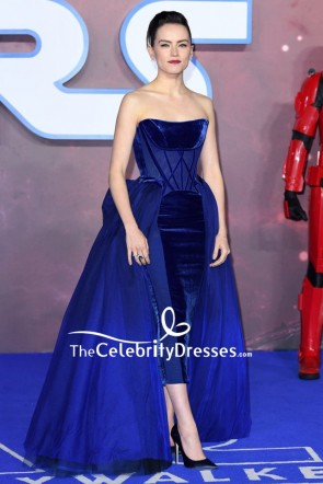 Daisy Ridley Royal Blue Strapless Corset Velvet Formal Dress TCD8803