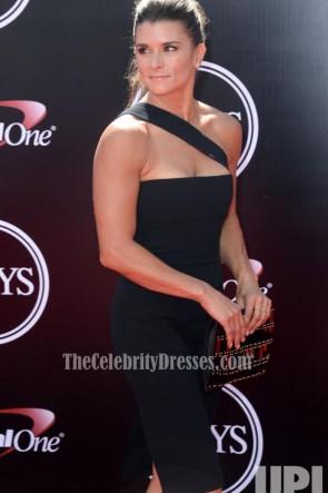 Danica Patrick sexy kurz schwarz ein Schulter Party Kleid 2016 ESPYS
