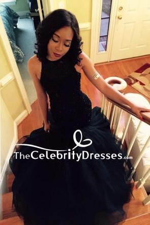 dunkel Marine Meerjungfrau Perlen Luxus Abendkleid Tüll Brautkleid zum Verkauf