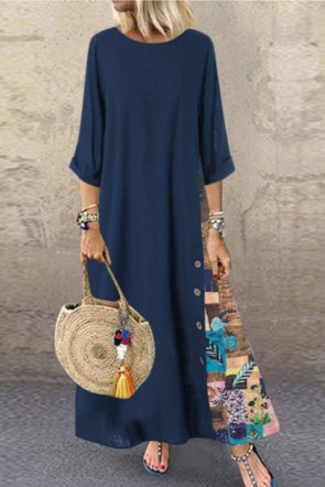 Dark Navy Vintage Printed Maxi Dress