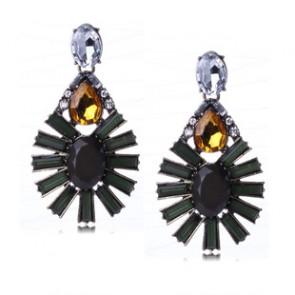 Dark Green Ellipse Water Drop Statement Earrings for Sale TCDE0051