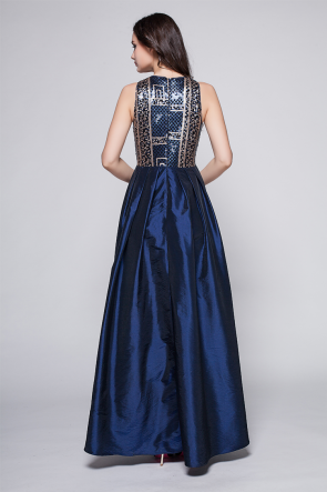 Dark Navy A-Line Prom Dress Evening Gowns TCDBF091