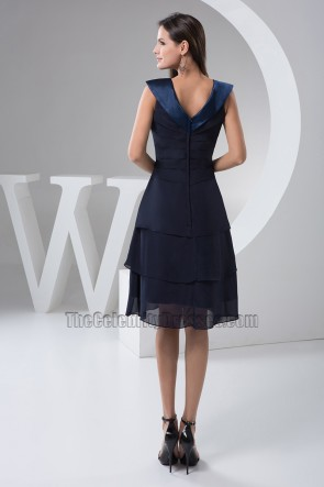 Dark Navy V-neck Cocktail Party Homecoming Dresses