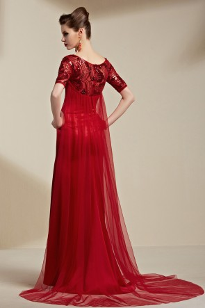 Deep Red Sequined Watteau Train Formal Dress Evening Gown With Beading