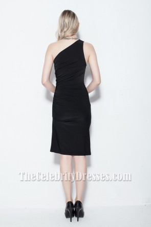Discount Black One Shoulder Cocktail Party Dress TCDB0117