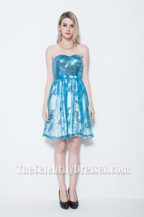 Discount Blue Strapless Sequined Party Homecoming Dress