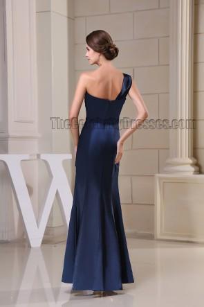 Discount Dark Navy One Shoulder Prom Gown Evening Dress