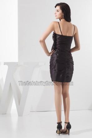 Rabatt Spaghettiträger Rüschen kurze Party kleines schwarzes Kleid