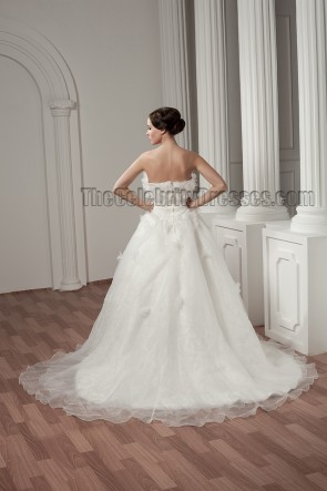 Discount Strapless A-Line Organza Chapel Train Wedding Dresses