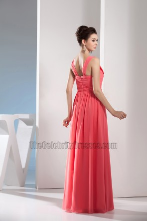 Discount Watermelon Chiffon Bridesmaid Prom Evening Dresses