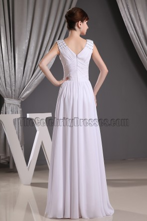 Discount White Chiffon V-neck Prom Gown Evening Dresses Informal Wedding Dress