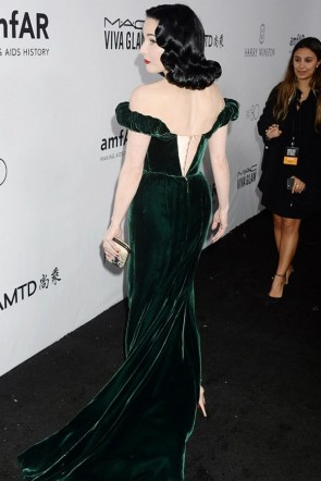 Dita Von Teese Dark Green Velvet Off-the-shoulder Dress amfAR Gala 2017