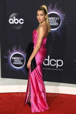 Dua Lipa Fuchsia Strapless Dress 2019 American Music Awards TCD8778