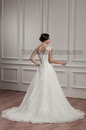 Elegant A-Line V-Neck Embroidered Chapel Train Wedding Dresses