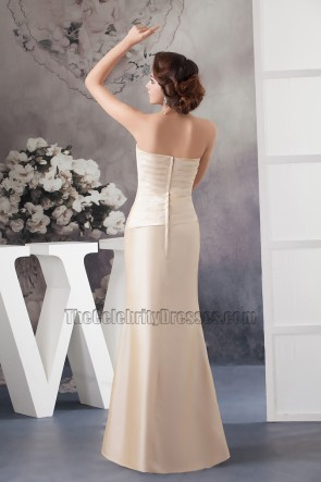 Champagne Strapless Formal Mother Of Bride Dress With A Wrap